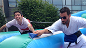 Competitive group leaders Bungee-running at Summer Party